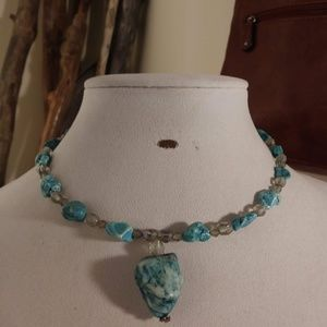 Decorative Necklace with Marble Blue Stones